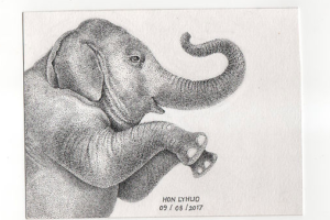 Elephant Ink Drawings for The Raffles Hotel Le Royall